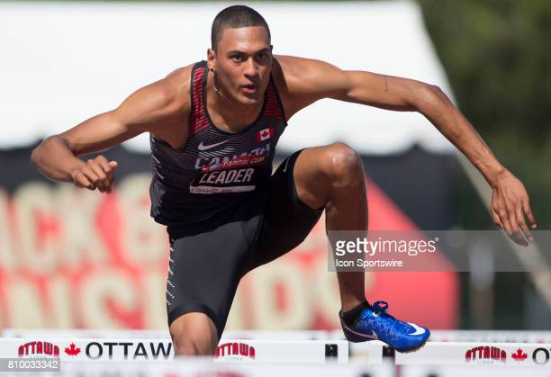 Pierce Lepage of Canada competing in the 110m hurdles in the Capital Cup decathlon on July 5 in Ottawa Canada