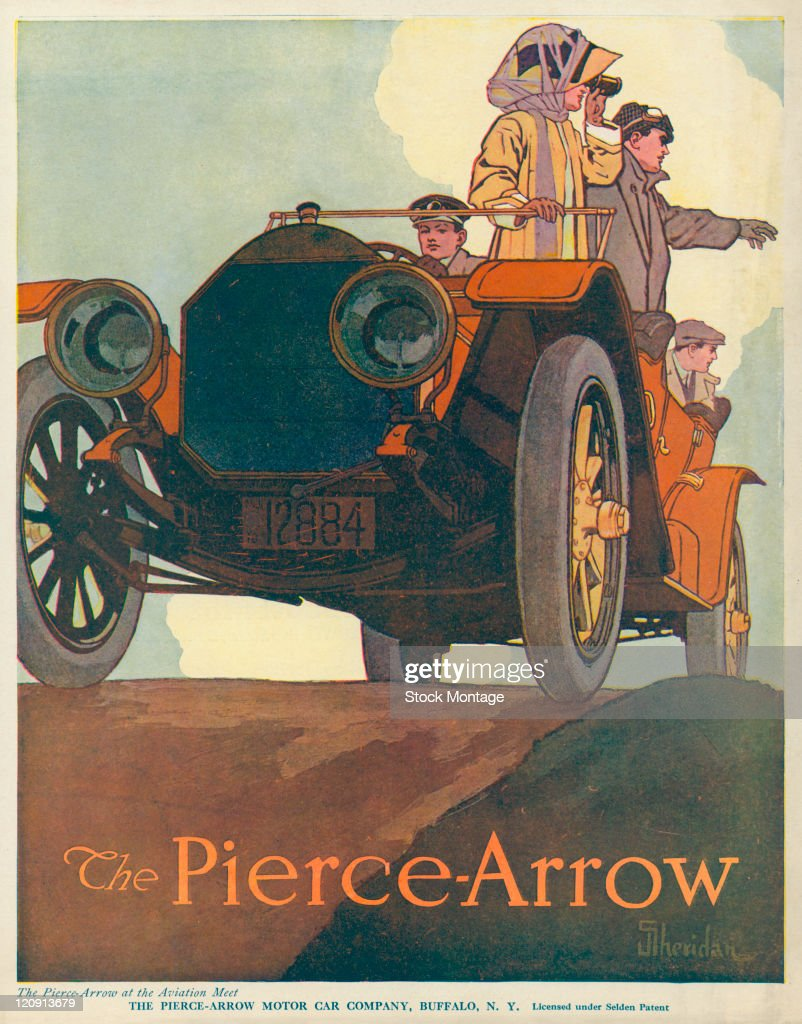 "A PierceArrow automobile is shown in a magazine advertisement from 1910 The picture is titled ""The PierceArrow at the Aviation Meet"""