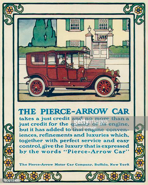 A PierceArrow automobile is shown in a magazine advertisement from 1914 The car with a driver inside is parked on a street in front of a large house...