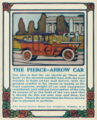A PierceArrow automobile is shown in a magazine advertisement from 1914 The car with a driver and two passengers seated inside is on a street A...