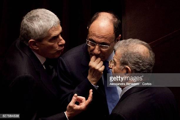 PierFerdinando Casini Renato Schifani and Fabrizio Cicchitto during the votation of the Italian Parliament to elect the 12th President of the Italian...