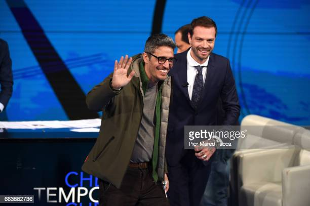 Pierfrancesco Diliberto called Pif and Paul Baccaglini attend 'Che Tempo Che Fa' tv show on April 2 2017 in Milan Italy