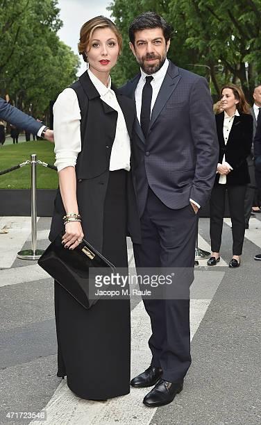 Pierfrancesco Favino and Anna Ferzetti attend the Giorgio Armani 40th Anniversary Silos Opening And Cocktail Reception on April 30 2015 in Milan Italy