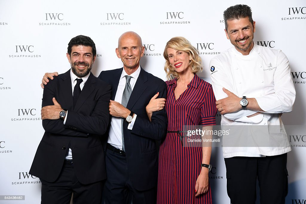 <a gi-track='captionPersonalityLinkClicked' href=/galleries/search?phrase=Pierfrancesco+Favino&family=editorial&specificpeople=676710 ng-click='$event.stopPropagation()'>Pierfrancesco Favino</a>, <a gi-track='captionPersonalityLinkClicked' href=/galleries/search?phrase=Beppe+Ambrosini&family=editorial&specificpeople=11036103 ng-click='$event.stopPropagation()'>Beppe Ambrosini</a> Brand Manager IWC Italia, <a gi-track='captionPersonalityLinkClicked' href=/galleries/search?phrase=Alessia+Marcuzzi&family=editorial&specificpeople=3958121 ng-click='$event.stopPropagation()'>Alessia Marcuzzi</a> and Andrea Berton attend IWC Boutique Opening Dinner on June 28, 2016 in Milan, Italy.