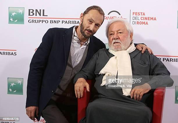 Pierfrancesco Villaggio and Paolo Villaggio attend a photocall for 'Fantozzi' during the 10th Rome Film Fest at Auditorium Parco Della Musica on...