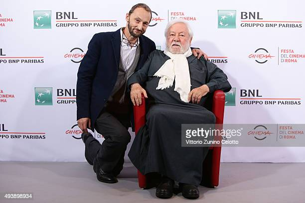 Pierfrancesco Villaggio and Paolo Villaggio attends a photocall for 'Fantozzi' during the 10th Rome Film Fest on October 23 2015 in Rome Italy