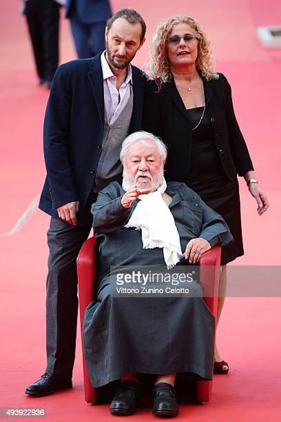 Pierfrancesco Villaggio Paolo Villaggio and Elisabetta Villaggio attend a red carpet for 'Fantozzi' during the 10th Rome Film Fest on October 23 2015...