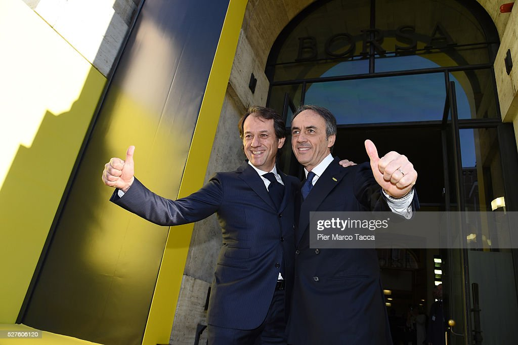 Pierluigi Alessandri and Nerio Alessandri attend the Technogym Listing Ceremony at Palazzo Mezzanotte on May 3, 2016 in Milan, Italy. Technogym is the world leader in the construction of equipment for gyms, founded in 1983 by Nerio Alessandri, and was listed today on the Milan Stock Exchange.