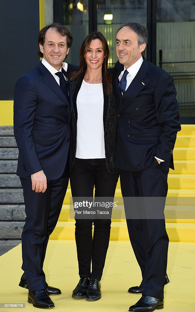 Pierluigi Alessandri, Flavia Pennetta and Nerio Alessandri attend the Technogym Listing Ceremony at Palazzo Mezzanotte on May 3, 2016 in Milan, Italy. Technogym is the world leader in the construction of equipment for gyms, founded in 1983 by Nerio Alessandri, and was quoted today on the Milan Stock Exchange.