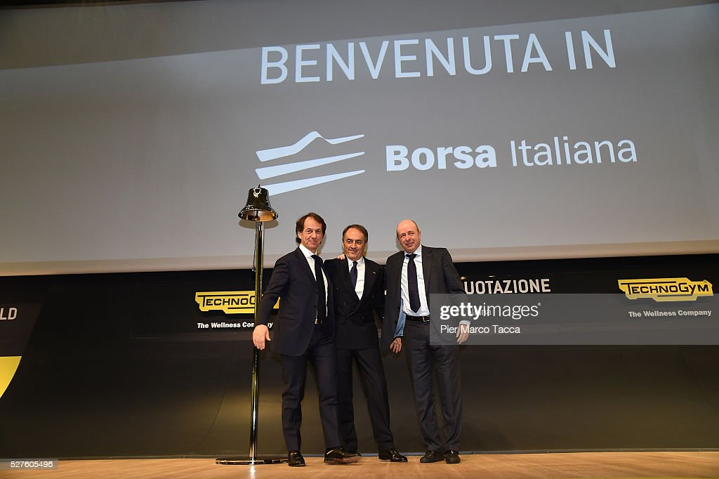 Pierluigi Alessandri, Nerio Alessandri and CEO of Borsa Italiana Raffaele Jerusalmi attend the Technogym Listing Ceremony at Palazzo Mezzanotte on May 3, 2016 in Milan, Italy. Technogym is the world leader in the construction of equipment for gyms, founded in 1983 by Nerio Alessandri, and was quoted today on the Milan Stock Exchange.