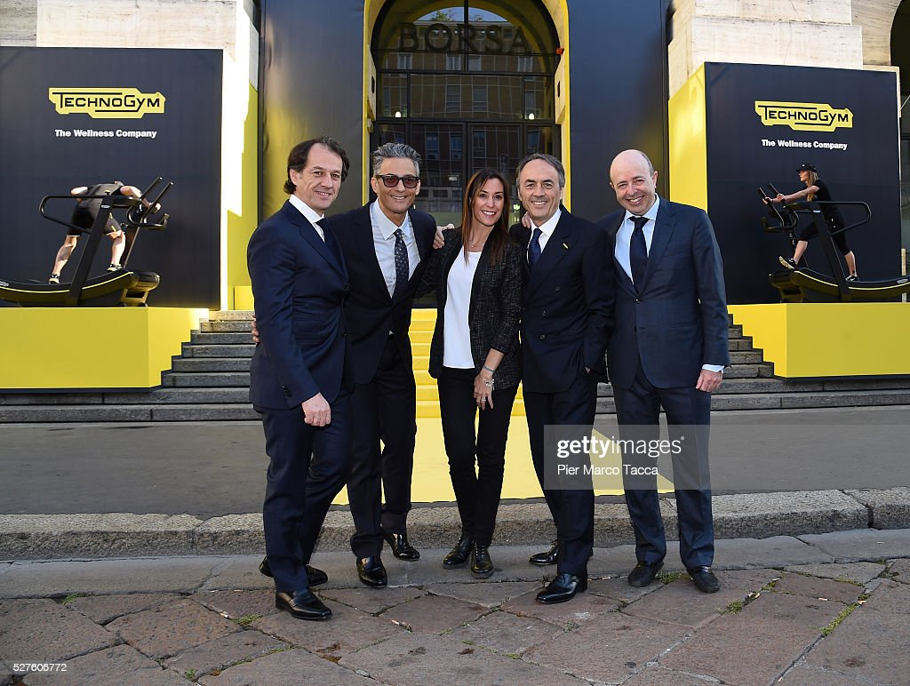 Pierluigi Alessandri, Rosario Fiorello, Flavia Pennetta, President and founder of Technogym Nerio Alessandri and CEO of Borsa Italiana Raffaele Jerusalmi attend the Technogym Listing Ceremony at Palazzo Mezzanotte on May 3, 2016 in Milan, Italy. Technogym is the world leader in the construction of equipment for gyms, founded in 1983 by Nerio Alessandri, and was listed today on the Milan Stock Exchange.