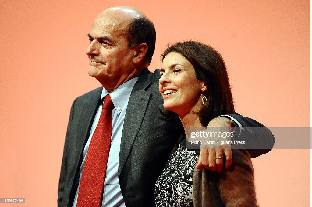 Pierluigi Bersani (L) Alessandra Moretti (R) attend the convention of the Democratic Party at PalaDozza on November 23, 2012 in Bologna, Italy.
