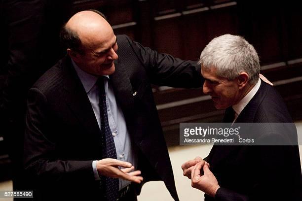 Pierluigi Bersani and Pierferdinando Casini during the 3rd votation of the Italian Parliament to elect the 12th President of the Italian Republic