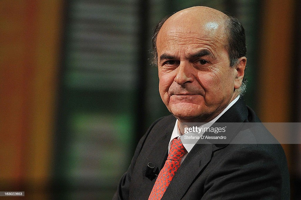 <a gi-track='captionPersonalityLinkClicked' href=/galleries/search?phrase=Pierluigi+Bersani&family=editorial&specificpeople=4182508 ng-click='$event.stopPropagation()'>Pierluigi Bersani</a> attends 'Che Tempo Che Fa' Italian TV Show on March 3, 2013 in Milan, Italy.