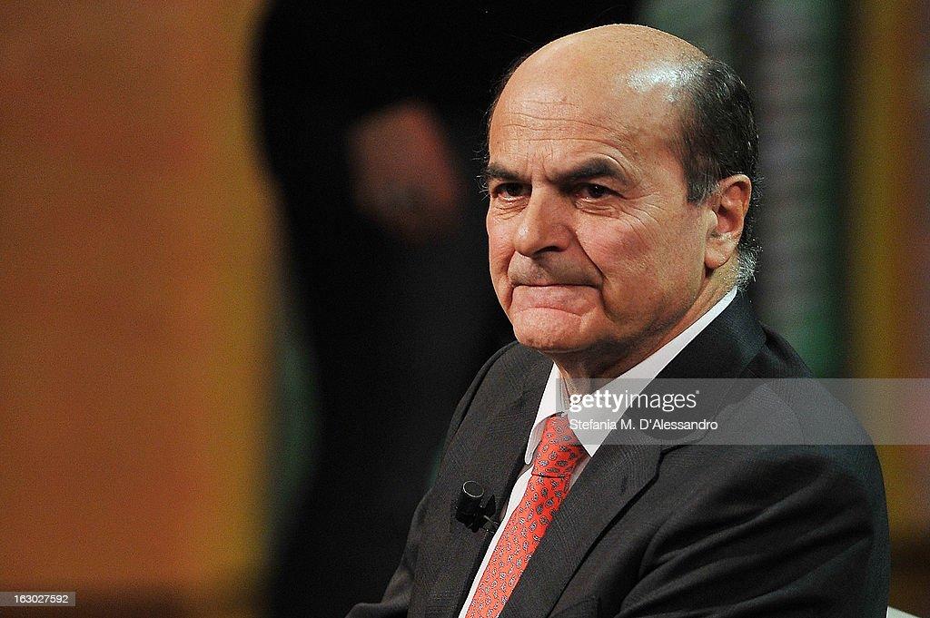 Pierluigi Bersani attends 'Che Tempo Che Fa' Italian TV Show on March 3 2013 in Milan Italy