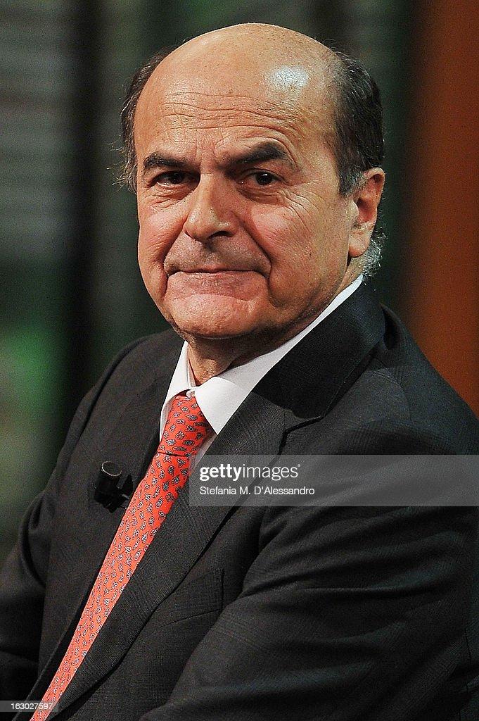 Pierluigi Bersani attends 'Che Tempo Che Fa' Italian TV Show on March 3, 2013 in Milan, Italy.