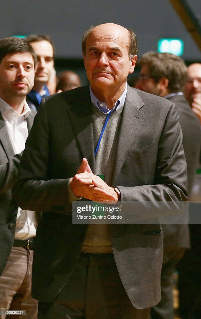 Pierluigi Bersani attends the Italian Social Democratic Party PD National Assembly on December 15 2013 in Milan Italy Matteo Renzi won the PD primary...