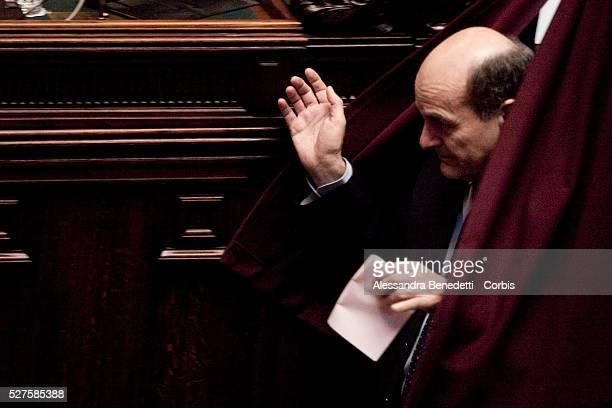 Pierluigi Bersani during the 3rd votation of the Italian Parliament to elect the 12th President of the Italian Republic