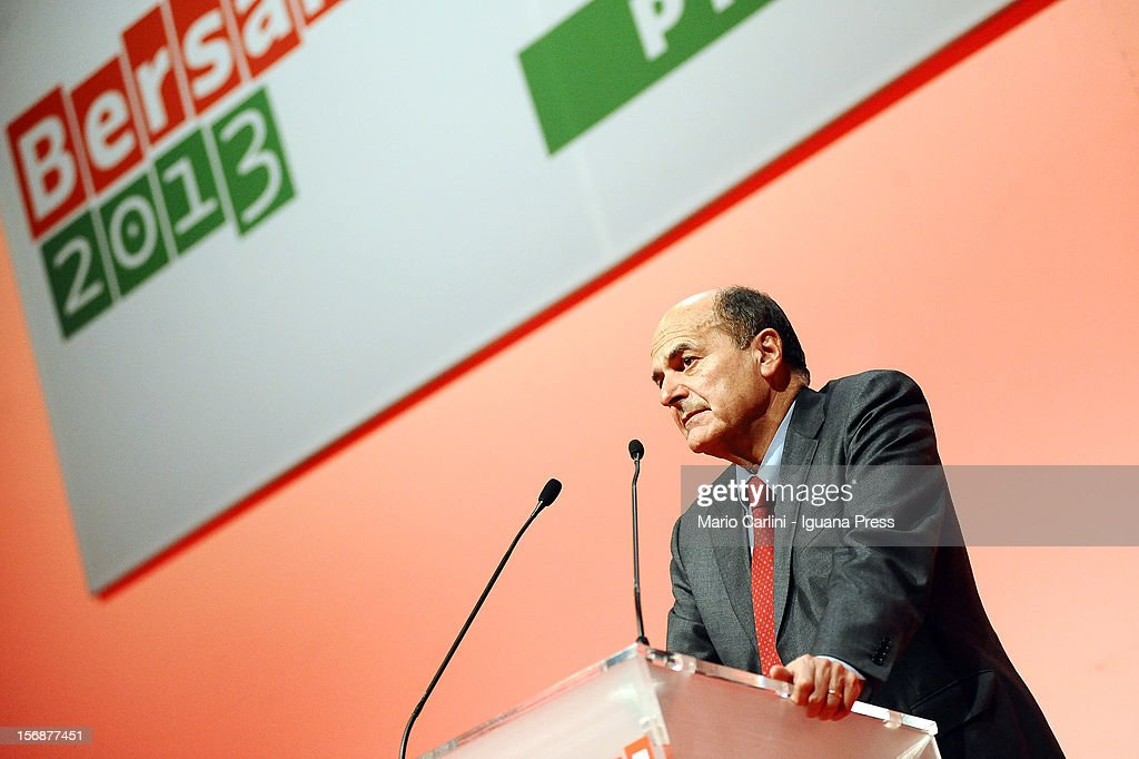 Pierluigi Bersani speaks at PalaDozza in Bologna prior to PD Primaries Elections on November 23, 2012 in Bologna, Italy.