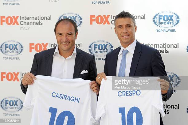 Pierluigi Casiraghi and Hernan Crespo attend a Fox International Channels press conference to present Fox Sports on July 31 2013 in Milan Italy