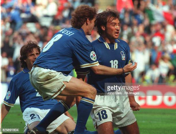Pierluigi Casiraghi celebrates his goal for Italy as they defeat Russia two goals to one in their Euro 96 Match at Anfield todayPhoto John Giles/PA