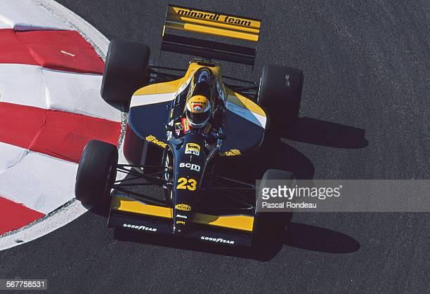 Pierluigi Martini of Italy drives the Minardi Team Minardi M191 Ferrari V12 during practice for the RhonePoulenc French Grand Prix on 6 July 1991 at...