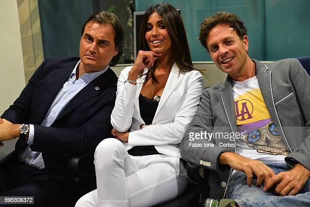 Pierluigi Pardo Federica Nargi and Gabriele Parpiglia attend Tiki Taka Italian TV show on September 16 2013 in Milan Italy