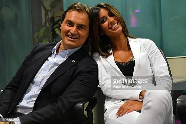Pierluigi Pardo Federica Nargi attend Tiki Taka Italian TV show on September 16 2013 in Milan Italy