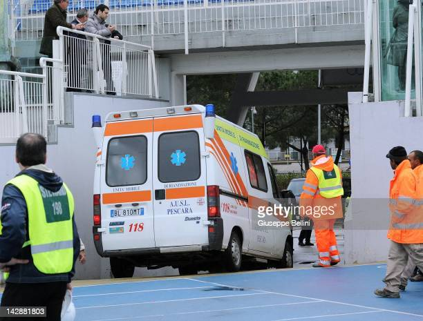 Piermario Morosini of Livorno is carried away from the stadium in an ambulance after suddenly collapsing during the Serie B match between Pescara...