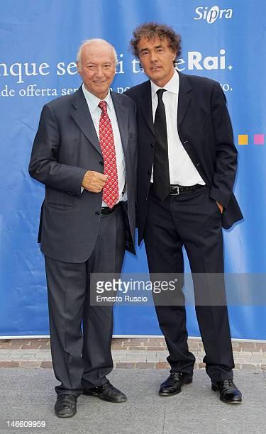 Piero Angela and Massimo Giletti attend the Palinsesti Rai photocall at Cavalieri Hilton Hotel on June 20 2012 in Rome Italy