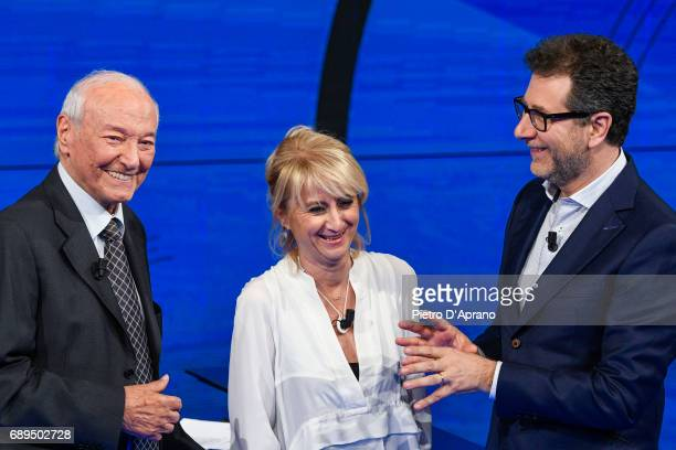 Piero Angela Fabio Fazio Luciana Littizzetto attends 'Che Tempo Che Fa' tv show at Rai Milan Studios on May 28 2017 in Milan Italy