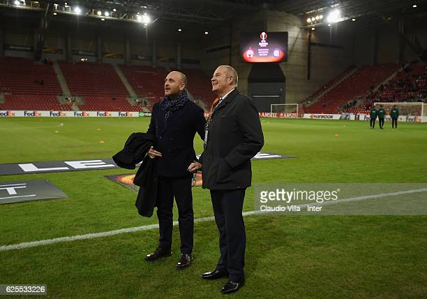 Piero Ausilio and Giovanni Gardini of FC Internazionale Giovanni Gardini of FC Internazionale chat ahead of the UEFA Europa League match between...