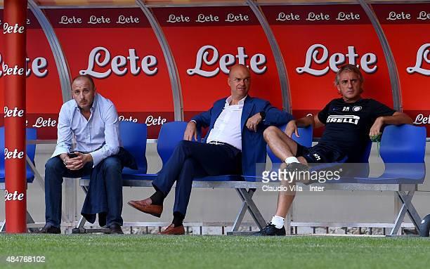 Piero Ausilio Marco Fassone and Roberto Mancini attend FC Internazionale training session at Stadio Giuseppe Meazza on August 21 2015 in Milano Italy