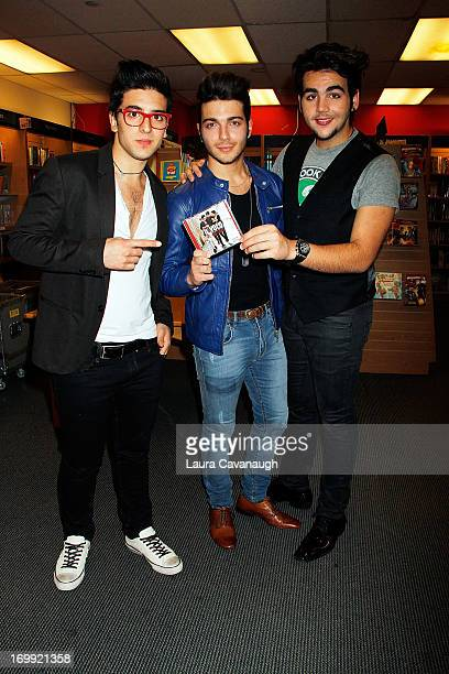 Piero Barone Gianluca Ginoble and Ignazio Boschetto of Il Volo attend Il Volo CD Signing and performance at Barnes Noble on June 4 2013 in New York...