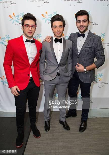 Piero Barone Gianluca Ginoble and Ignazio Boschetto of Il Volo attend the HGTV Holiday House KickOff at Santa Monica Place with performance by Il...