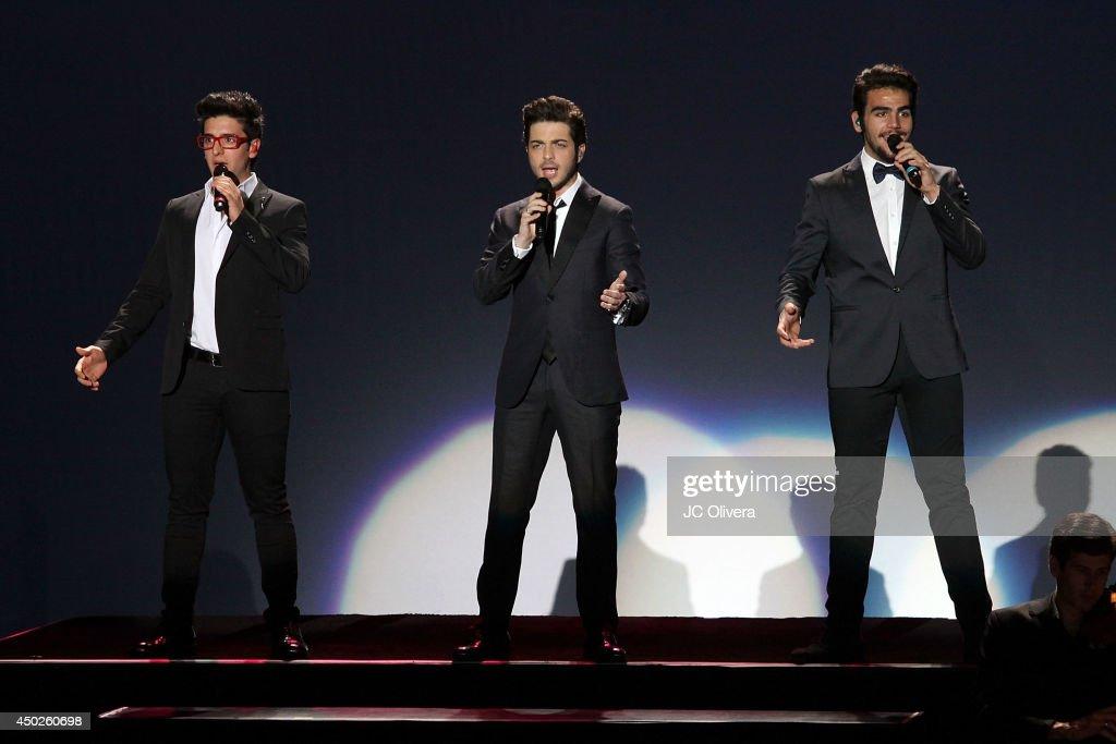 Piero Barone Gianluca Ginoble and Ignazio Boschetto of Il Volo perform on stage at The Greek Theatre on June 7 2014 in Los Angeles California