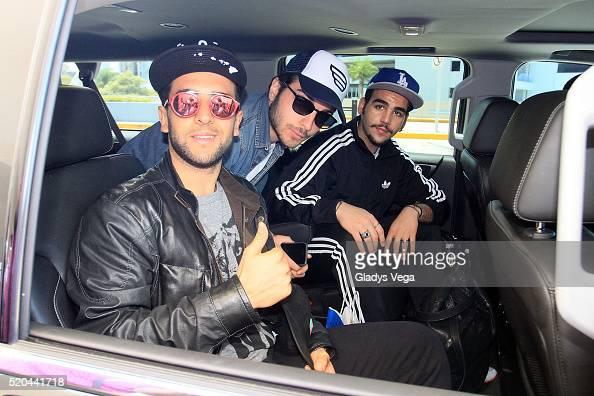 Piero Barone Gianluca Ginoble and Ignazio Boschetto of italian pop trio IL Volo are sighted on their arrival to Puerto Rico at Luis Munoz Marin Intl...