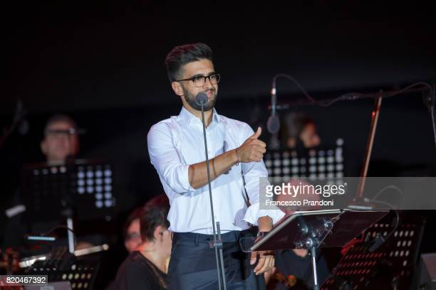 Piero Barone of Il Volo performs on stage during Lucca Summer Festival 2017 on July 21 2017 in Lucca Italy