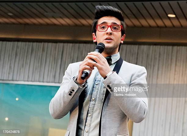 2 Piero Barone of Il Volo performs songs from their album 'We Are Love' at Barnes Noble 3rd Street Promenade on June 12 2013 in Santa Monica...
