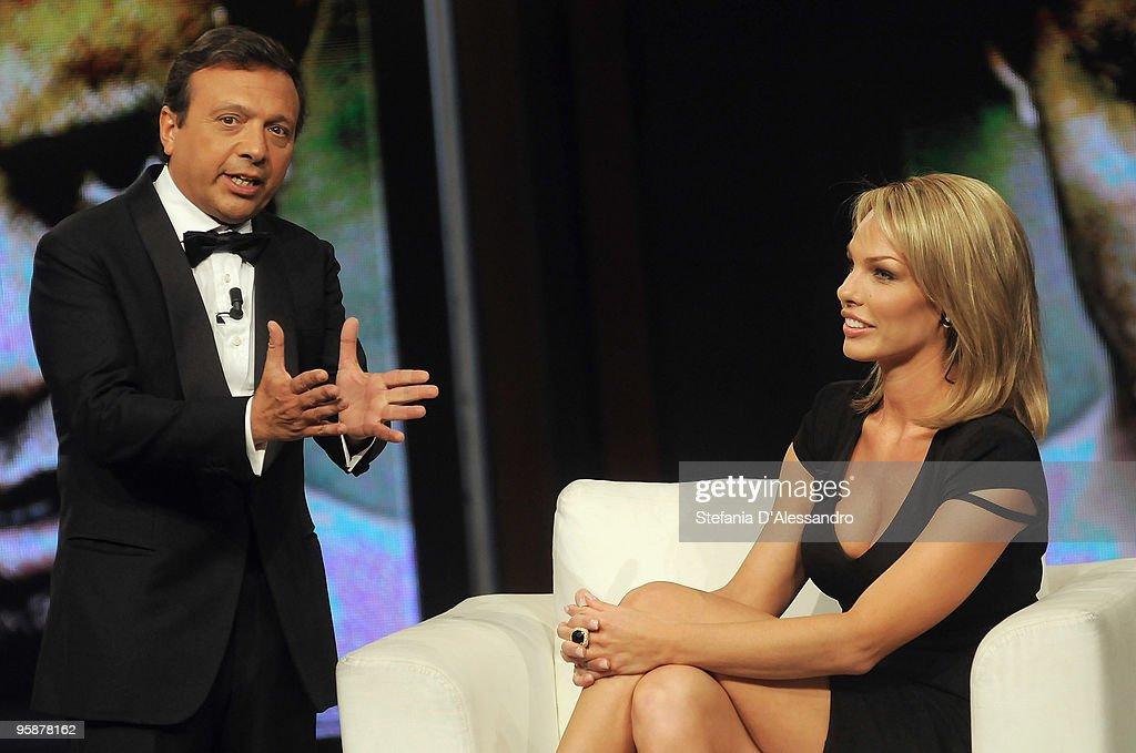 Piero Chiambretti and Cori Rist attend 'Chiambretti Night' Italian TV Show on January 19, 2010 in Milan, Italy.