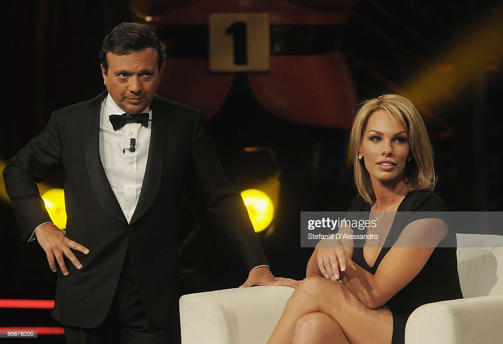 Piero Chiambretti and Cori Rist attend 'Chiambretti Night' Italian TV Show on January 19, 2010 in Milan, Italy.