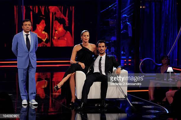 Piero Chiambretti Federica Pellegrini and Luca Marin attend 'Chiambretti Night' Italian Tv Show held at Canale 5 Studios on September 14 2010 in...