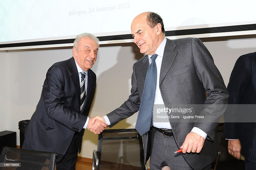 Piero Collina president of CCC and Pierluigi Bersani leader of PD attend the celebrations for the centenary of CCC at Unipol Bank Hall on February 24...