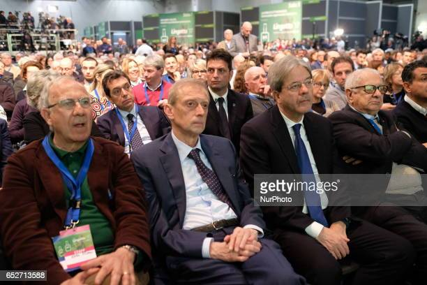 Piero Fassino and Paolo Gentiloni during last 'Renzi electoral rally' in Turin Italy on 12 March 2017 The former Prime Minister of Italy Matteo Renzi...