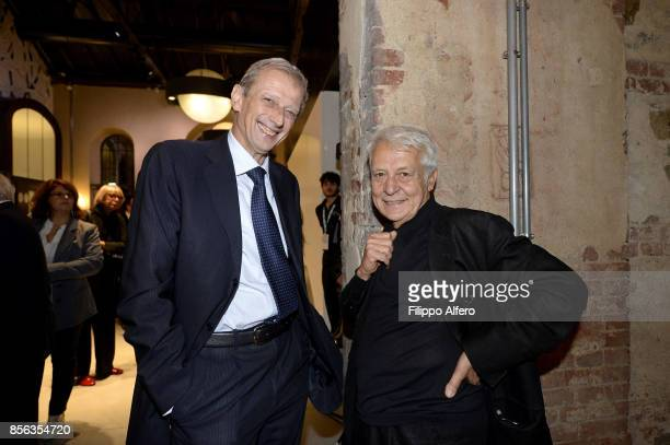 Piero Fassino politician togheter with Fulvio Gianaria president of Turin art foundation during the OGR concert on September 30 2017 in Turin Italy