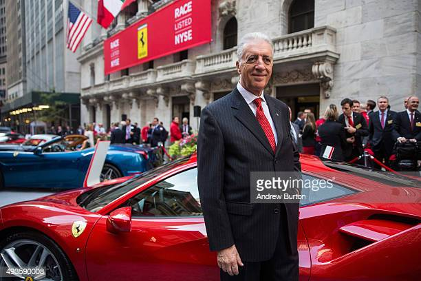 Piero Ferrari son of Ferrari Automotive Company founder Enzo Ferrari and Vice Chairman of the company poses with a Ferrari outside the New York Stock...