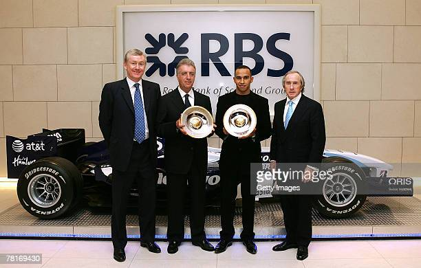 Piero Ferrari with the RBS Jackie Stewart Lifetime Achievement Award in Motorsports which he received on behalf of Ferrari and Lewis Hamilton with...