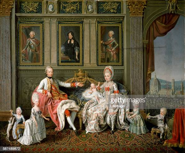 Piero Leopoldo Grandduke of Tuscany later Emperor Leopold II his wife Maria Ludovica Infanta of Spain and six of their 16 children Painting by Wenzel...