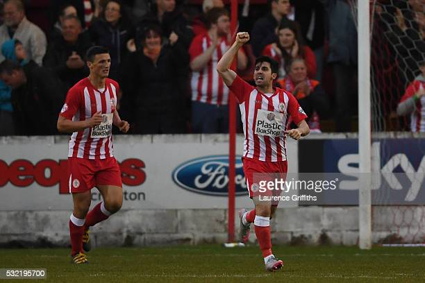 Piero Mingoia of Accrington Stanley celebrates after scoring his team's second goal during the Sky Bet League Two play off Second Leg match between...