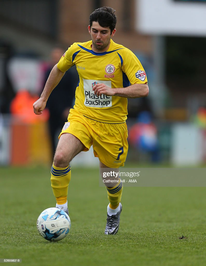 Piero Mingoia of Accrington Stanley during the Sky Bet League Two match between Wycombe Wanderers and Accrington Stanley at Adams Park on April 30, 2016 in High Wycombe, England.